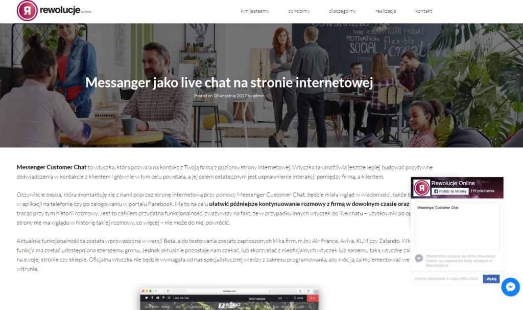 Jak może wyglądać messanger customer chat na Twojej stronie